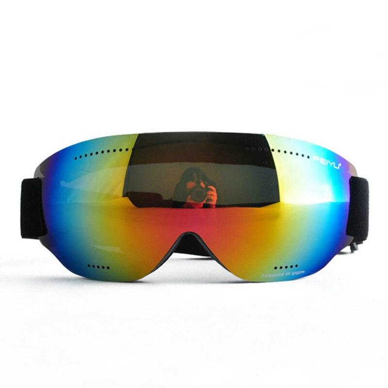 Prix pour Pas cher Femmes Unique Lentille Lunettes de Ski Hommes Coupe-Vent Anti Brouillard UV400 Ski Lunettes Ski Snowboard Cyclisme Lunettes Sans Cadre