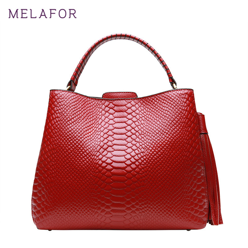 MELAFOR Fashion Women Handbag Female Genuine Leather Bags Handbags Ladies Portable Shoulder Crossbody Red Black Bag Tote G76780 zency new women genuine leather shoulder bag female long strap crossbody messenger tote bags handbags ladies satchel for girls