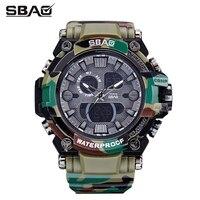 Camuflagem Homens Analógico Digital Esportes de Couro Relógios Homem Relógio De Quartzo Relógio Militar Do Exército Camo dos homens Relogio masculino