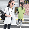 Girls Long Windbreaker Jacket Long Hot Baseball Uniform New Children's Korean Kids Clothing Cotton White Black Green