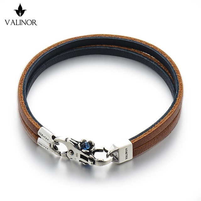 Brown Blue Double Layer Of The First Layer Of Leather Bracelet 925