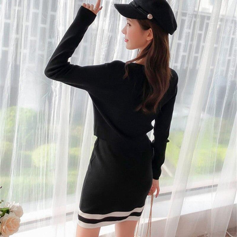 Office Femmes Crayon Pièces Lady Pollover 2018 Jupe Rugod 2 Deux Ensemble Mode V De Costumes Affaires Survêtements Noir Cou Outwear Costume Tricoté AnfCqxF