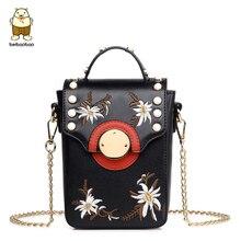 Beibaobao summer Women Messenger Bags Embroidery flower bag pearl for girls Women Bag sac a main bolsa feminina chain clutch