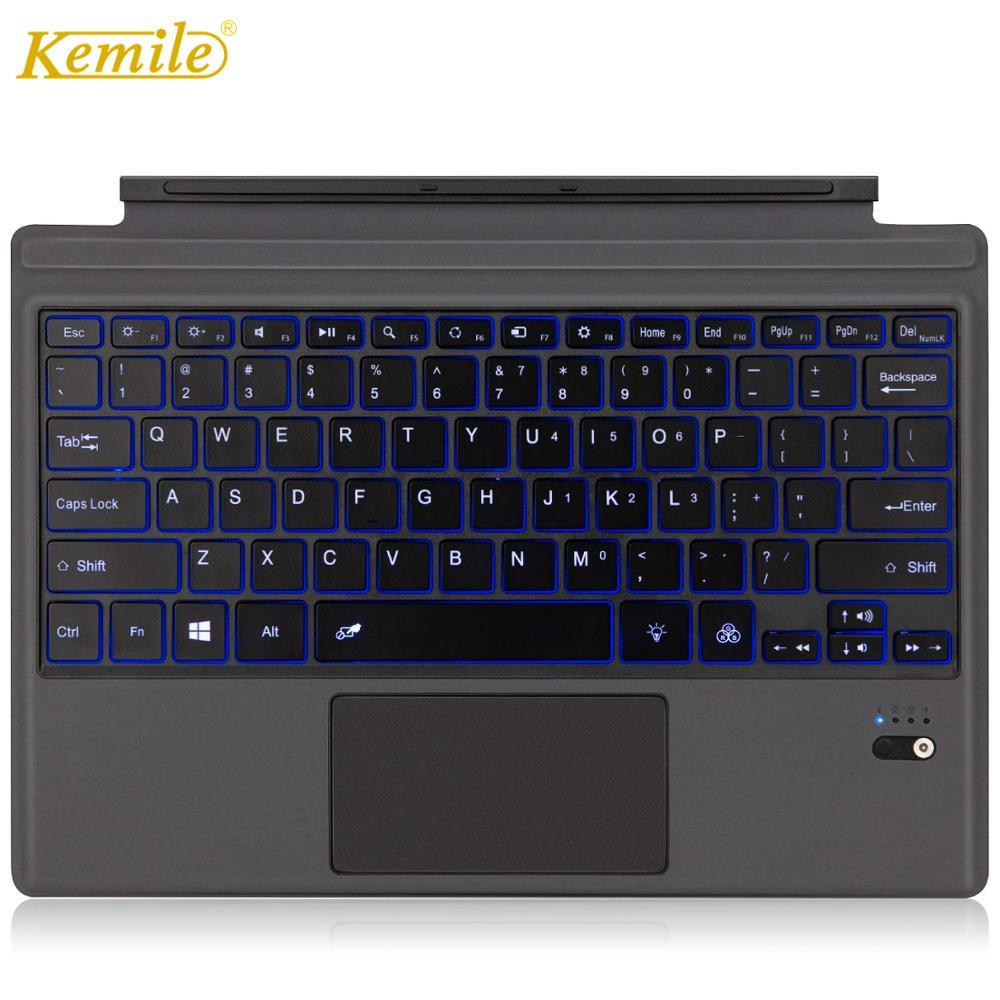 Kemile clavier rétroéclairé ultra fin pour Microsoft surface Pro 6 2018 Pro 5 2017 clavier Bluetooth pour Surface Pro 3 Pro 4 clavier
