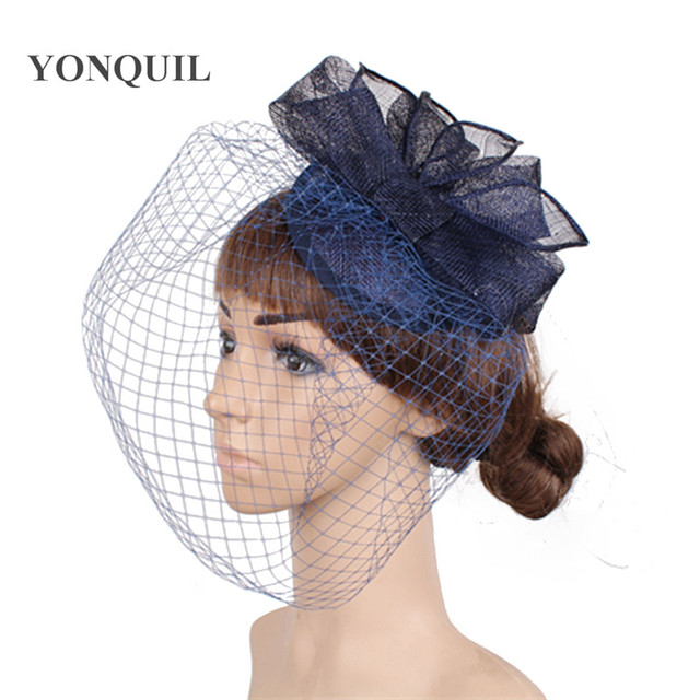 1680c9b6341cd navy sinamay fascinator hats with birdcage veils for wedding hair  accessories bridal veils cocktail party hats or Multiple color