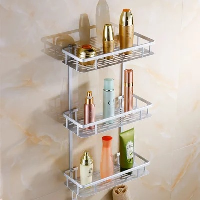Bathroom storage rack three layer space aluminum bathroom multi function toilet thickened corner shelf bath hardware