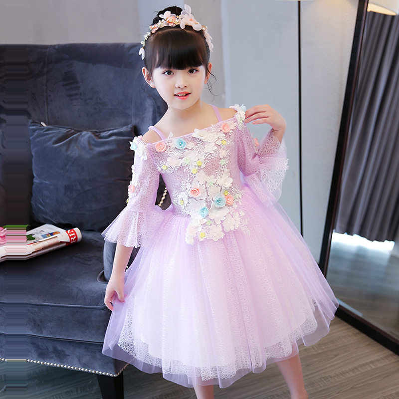 цена New Design Flower Girl Dress Summer Girl's Dresses Flare Sleeve Ball Gown Purple Princess Dress Off Shoulder Pageant Gown E272
