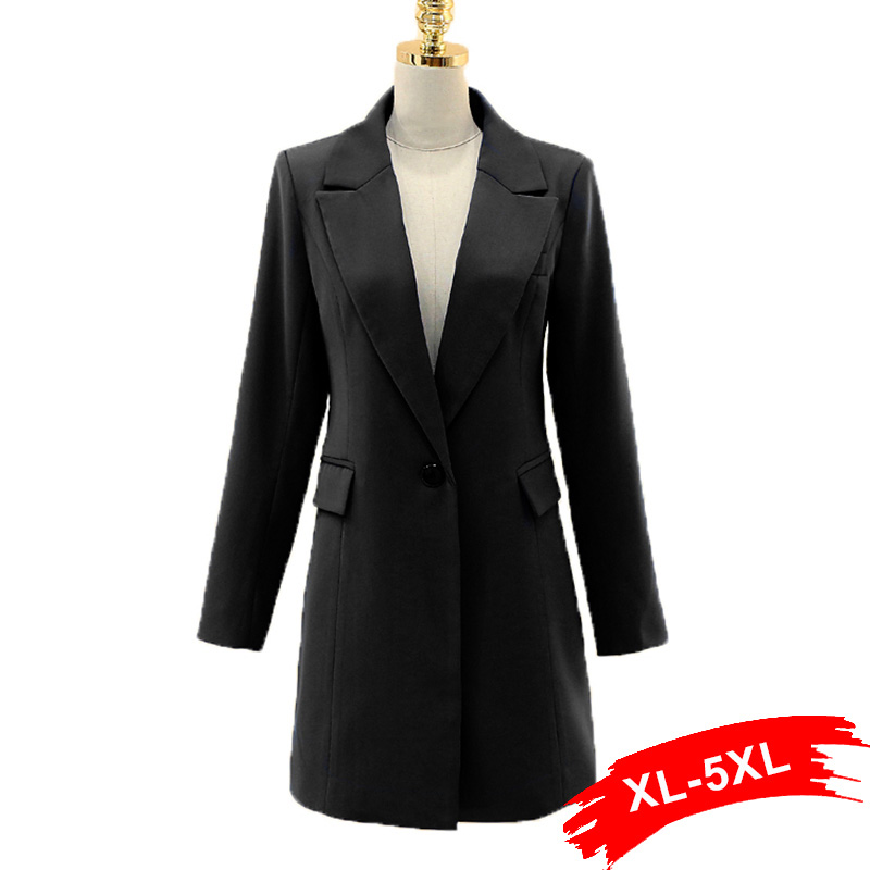 Online Shop Elegant Plus Size Long Black Blazer 4Xl 5Xl 3XL For ...