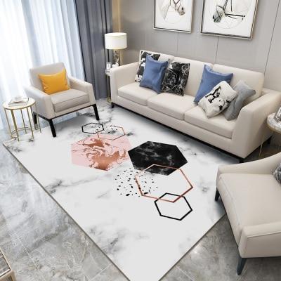 Geometric Marble Pattern 3d Print Carpet Living Room Rug Sofa Coffee