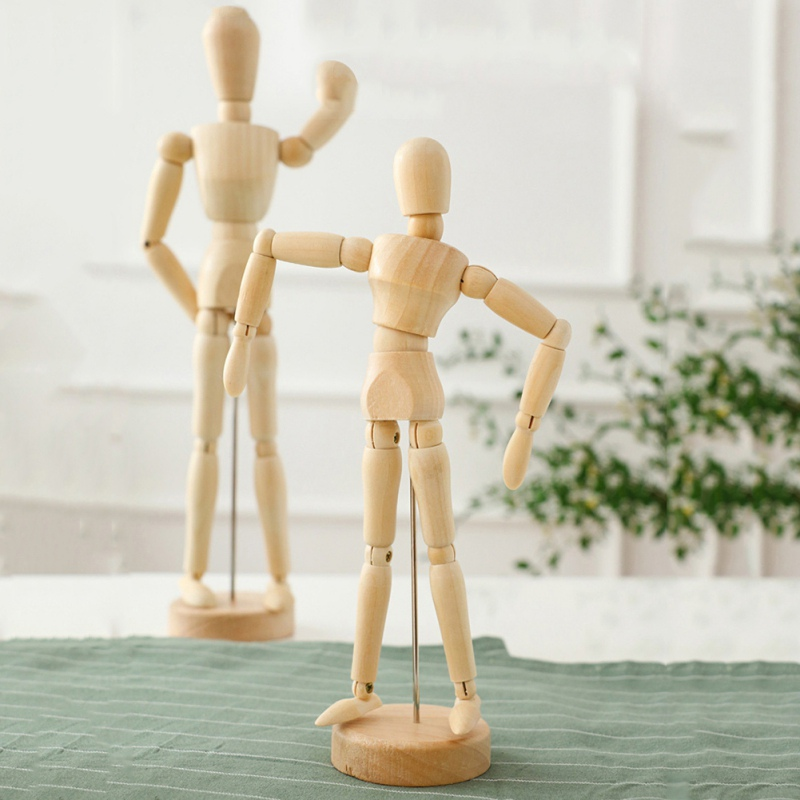 Paint Sketch Wooden Man Model Artist Movable Limbs Doll Male Wooden Toy Art Draw Action Figure Mannequin Kids Toys
