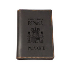 Spain Travel Accessories Multi CARD Engraved Leather Passport Cover Custom Name Passport wallet Travel Cover Passport Holder(China)