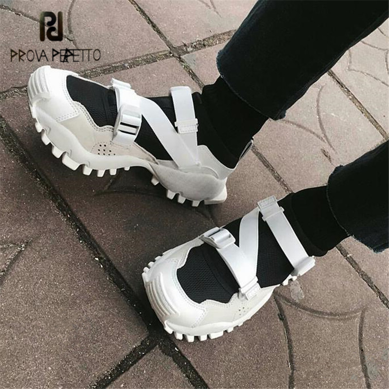 Prova Perfetto Women Sneakers Flat Sock Booties Espadrilles Platform Creepers Female Flats Tenis Feminino High Tops