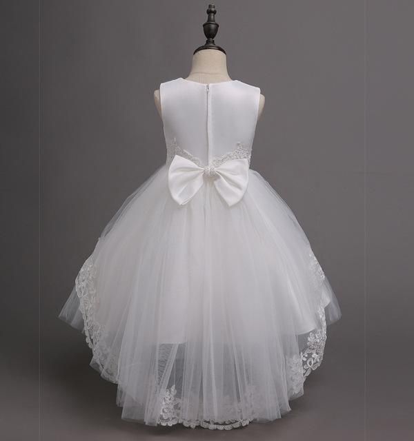 Blanc Dentelle Fleur Parti robe de Bal De Mariage De Pâques Junior Demoiselle D'honneur Princesse Fille Robe Sans Manches Enfants Kids Party Robes