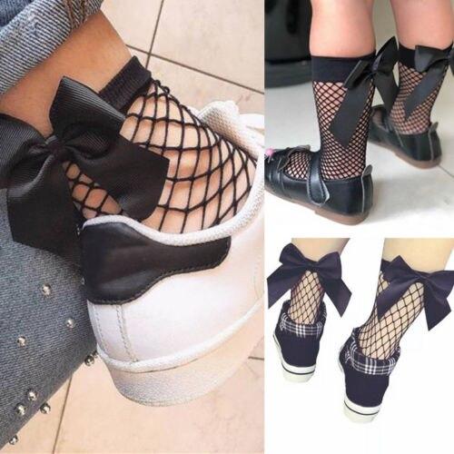 Summer Girls Fishnet Socks Lace Mesh Ruffle Fishnet Ankle Socks With Bow HC