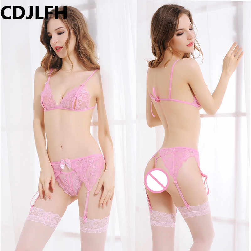 CDJLFH 2018 Women Hot Sexy transparent Bra + brief + Silk Socks + Sling Lingerie Suit Women Lace Bra Set Open Crotch Sex Set