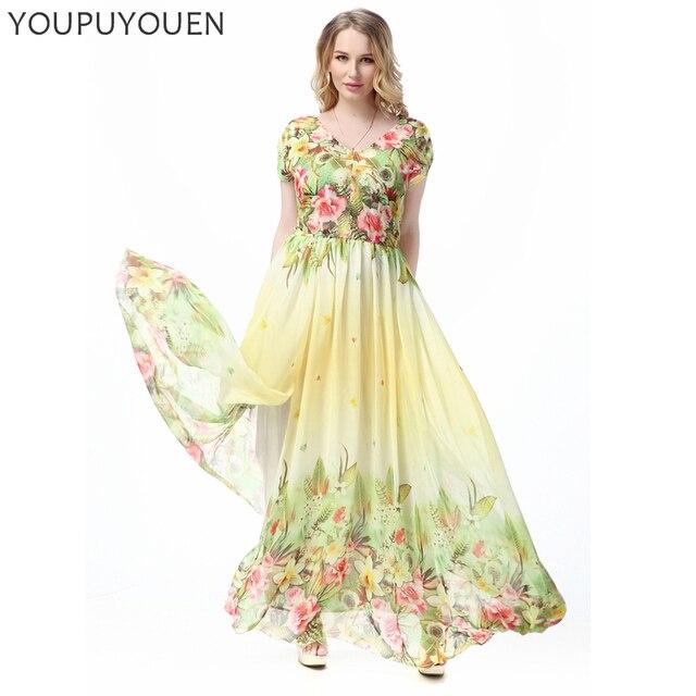 Women 6XL 7XL Plus Size Chiffon Slim Bohemian Maxi Dresses Fashion V ...