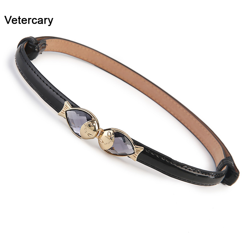 Fish Buckle Patent Leather Belt Women Brown PU Leather Belts Thin Black Skinny Waistband Adjustable Woman Cummerbunds For Dress