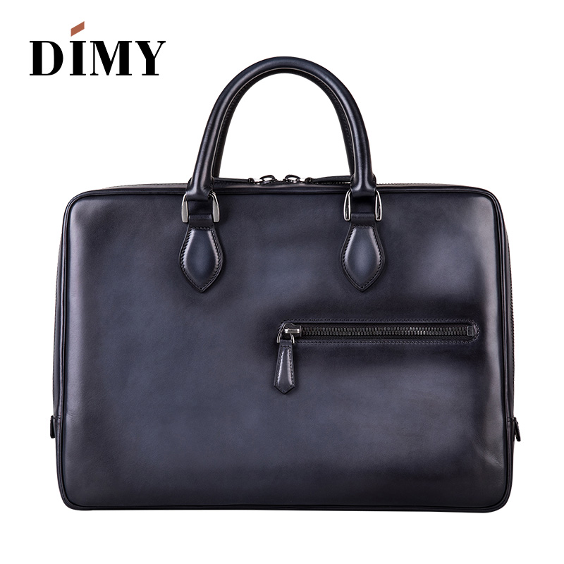Luxury Handcrafted Italian Leather Briefcase Messenger Bag Shoulder Handbag Hand Patina Laptop Business Case Travel Bag For Men