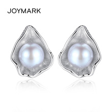 Charming Shell Design Gray White Freshwater Pearl Stud Earrings For Women 925 Sterling Silver Jewelry JPSE060 real 925 sterling silver crystal emerald flower drop earrings white freshwater pearl cz for women fine jewelry