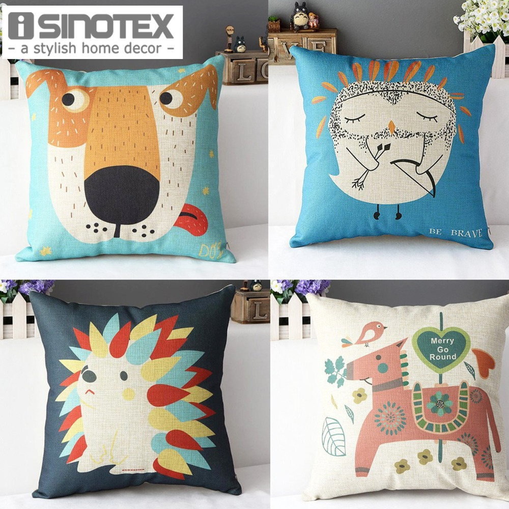 Decorative Pillows 43x43cm/16.9*16.9 Linen Cushion Animal Printed Home Decor 1pcs/lot Almofada ...
