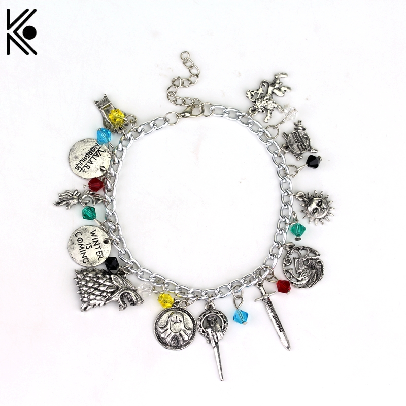 Fashion Game of Thrones Charm Bracelet Retro Vintage Jewelry Accessories For Fans Collection Winter Is Coming Unisex Bracelet