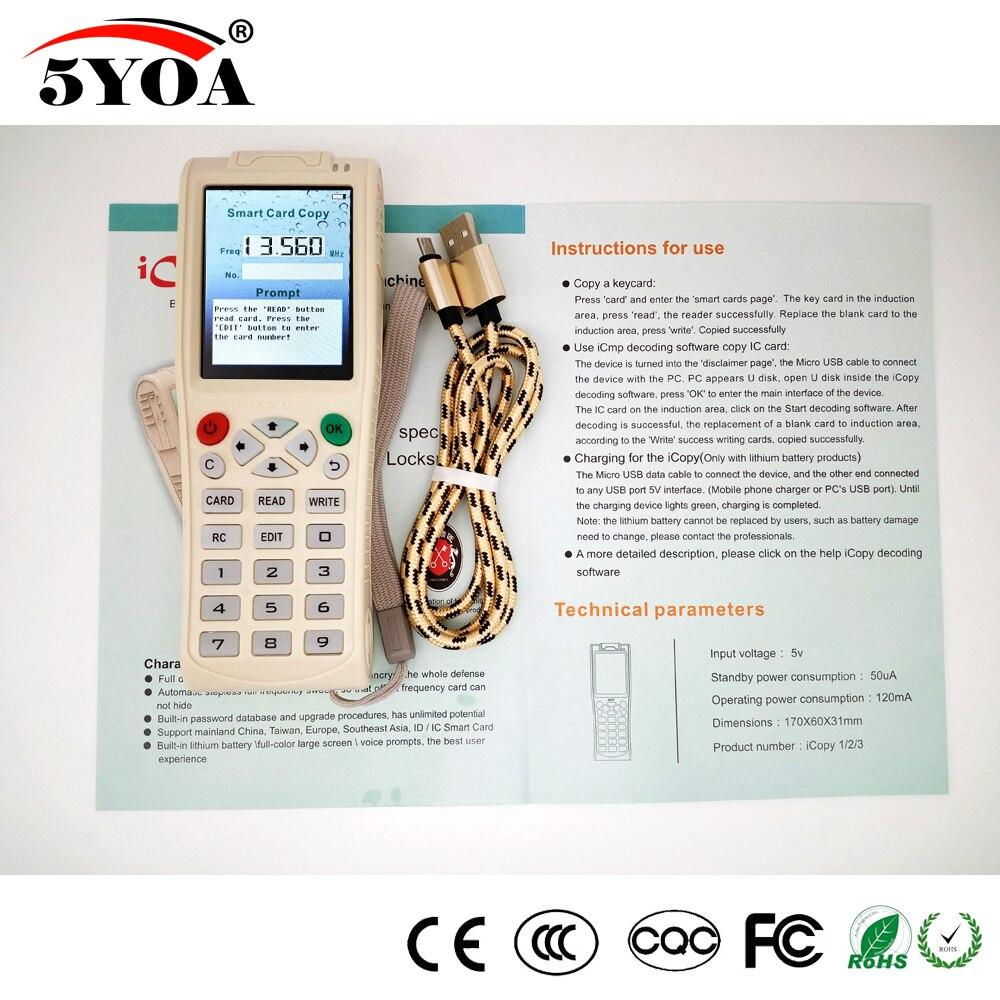 Inglese Versione Più Recente iCopy 3 con Piena Funzione di Decodifica Intelligente Macchina Chiave RFID NFC Copiatrice carta IC ID Reader Writer duplicatore