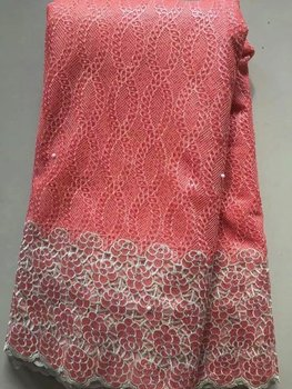 2018 3D Lace Fabric African Lace Fabric 2018 High Quality Pink French Beaded Lace Fabric Lace Trimmings For Sewing