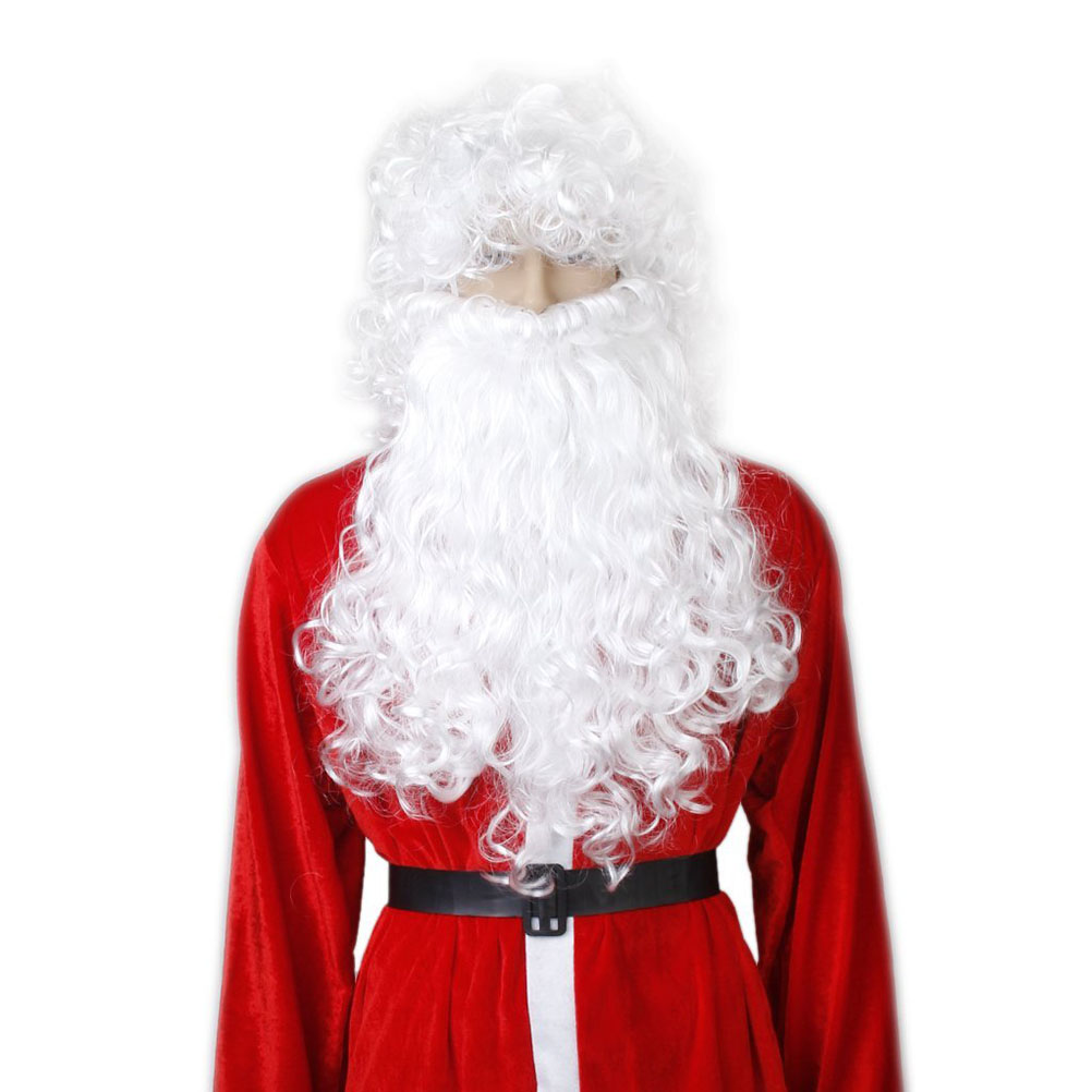 Christmas Wizard Old Man Dress Up White Curly Wigs Cosplay Lovely Father Santa Claus Beard Wig Man/Women/Children Fancy Dress Up