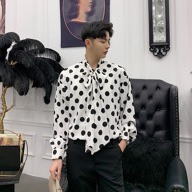 Korean Mens Long Sleeve Bowknot Loose Fit Shirts Business Casual Top Print Polka Dot S27