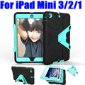 Case For iPad Mini 3/2/1 Silicone + PC Hard Triangle Stand Armor Drop Shock Proof Heavy Duty Case +Screen Protector IM422