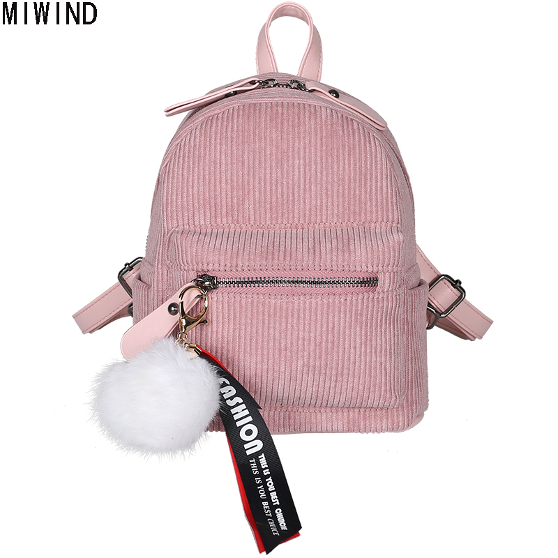 MIWIND  Girl School Bag Solid Mini Corduroy Fabric Women Fluffy Ball Backpack Students Travel Bag Velvet Bag Feminina Bolsa 1234