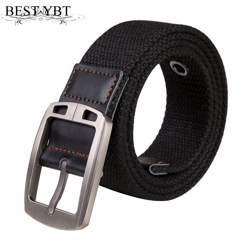 Best YBT Unisex   belt   fashion canvas Weaving stripe Men Alloy pin buckle   belt   outdoor casual Men and Women cowboy   belt   110-150cm