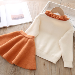 Image 5 - Conjunto de ropa para niña, modelos de otoño e invierno 2019, versión coreana de manga larga de solapa, traje de una sola botonadura, conjunto de ropa para niña
