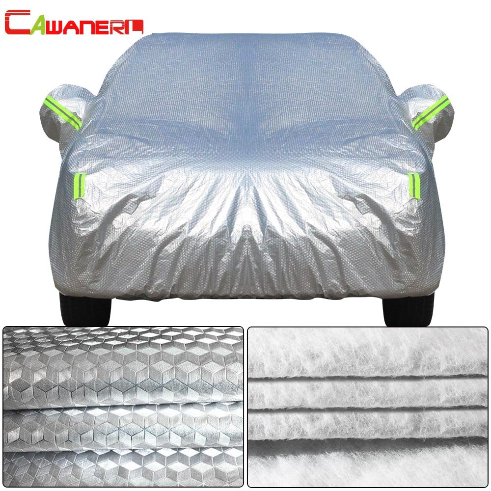 Cawanerl Three Layer Thick Car Cover Waterproof Anti UV Sun Rain Snow Hail Dust Protection Surface