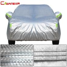 Cawanerl 3 레이어 두꺼운 자동차 커버 방수 안티 자외선 태양 비 눈 우박 먼지 보호 표면 알루미늄 호일 + 내부 코튼