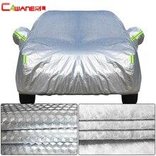 Cawanerl שלוש שכבה עבה רכב כיסוי עמיד למים אנטי UV שמש גשם שלג ברד אבק הגנת משטח אלומיניום רדיד + פנימי כותנה