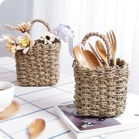Rattan Basket Straw Basket Foldable Flower Pot Storage Basket Woven Seagrass Basket Rattan Vase Organization Storage