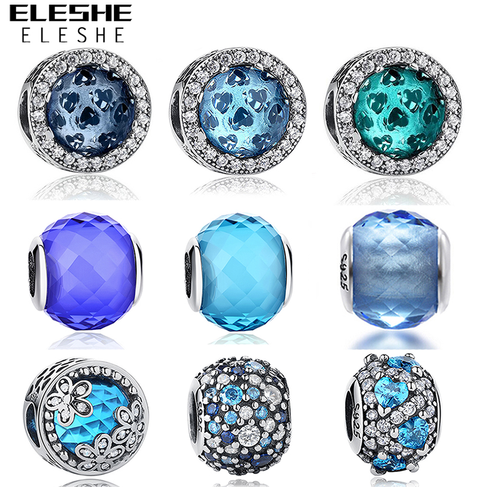 Original Beads: European 925 Sterling Silver Jewelry Blue CZ Crystal