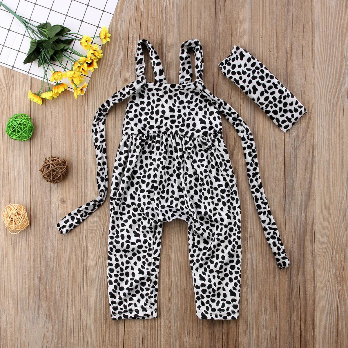 Newborn Kids Baby Boy Girl Polka Dot Print Romper Jumpsuit Outfit Sunsuit Baby Sleeveless Cow Rompers Clothing