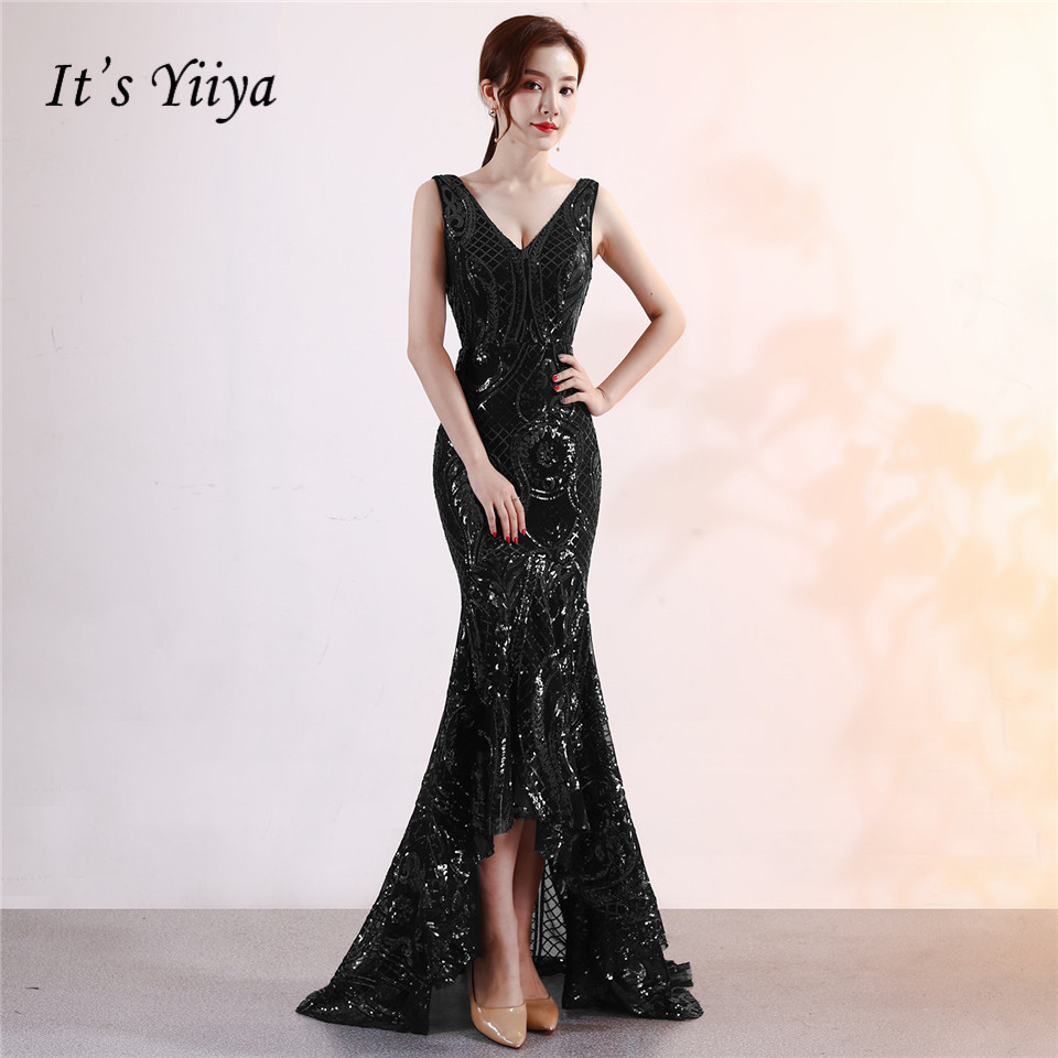 It's Yiiya Beading Sequined Prom   dress   V-neck backless trumpet party gowns Floor-length sleeveless zipper   evening     dresses   C112