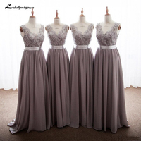 2018 Elegant Gray Bridesmaid Dresses Chiffon V Neck Appliques Lace Floor Length Backless Long Bridesmaid Gowns With Ribbon Bow