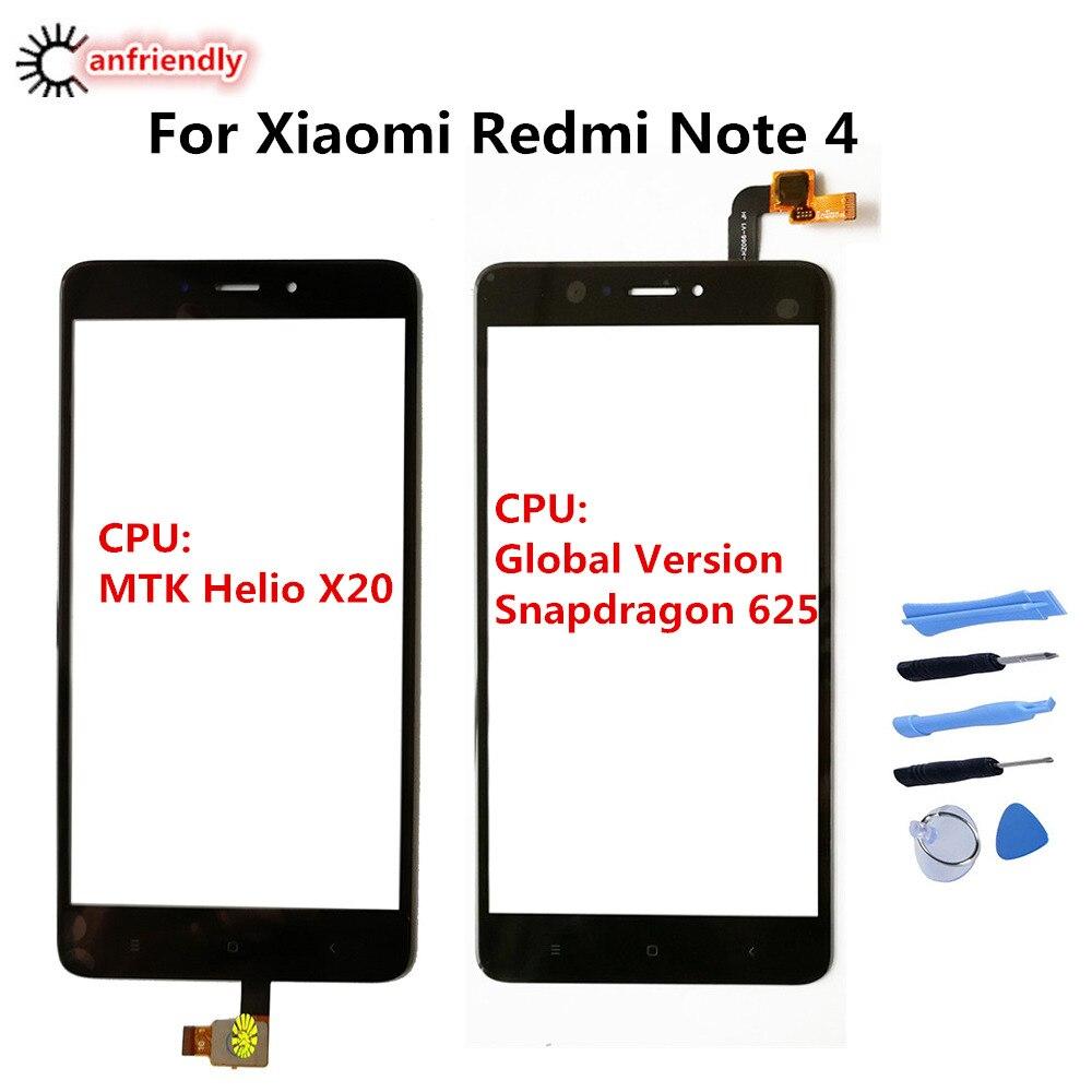 Para xiaomi redmi nota 4 substituição do painel da tela de toque digitador sensor vidro frontal para xiaomi redmi note4 telefone substituir vidro