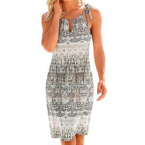 feitong Women Boho Printing Casual Beach Dresses Summer dffbea21edd5