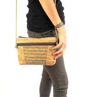 Natural with sliver cork body cross green strip cork Bags mid size Messenger bag original handmade Eco Bag-192