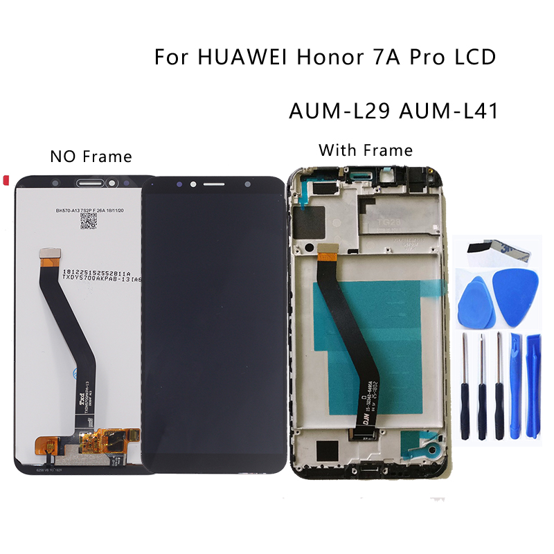 "New 5.7"" for Huawei Honor 7A pro AUM L29 Aum L41 LCD + touch screen display digitizer with frame screen repair parts +Free tools-in Mobile Phone LCD Screens from Cellphones & Telecommunications"