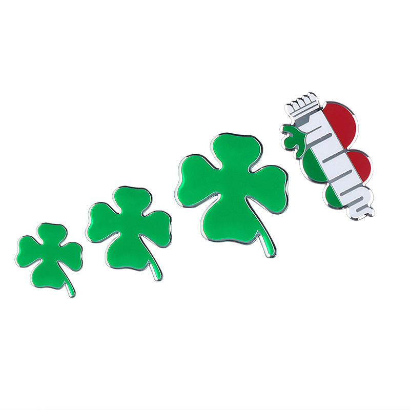 Car Styling Green Four-leaf Clover Sticker 3D Aluminum Emblem Fit For Alfa Romeo Giulietta Spider GT Giulia Mito Car Accessories