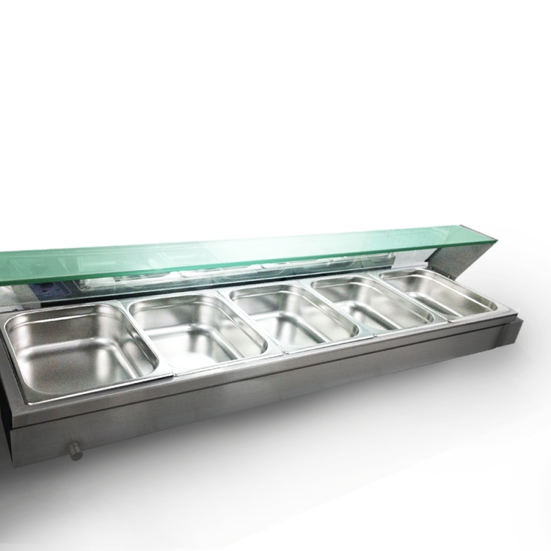 Bain Marie 5 Gastronorm Pans Stainless Steel Pot Wet Well Hot Food Display Glass