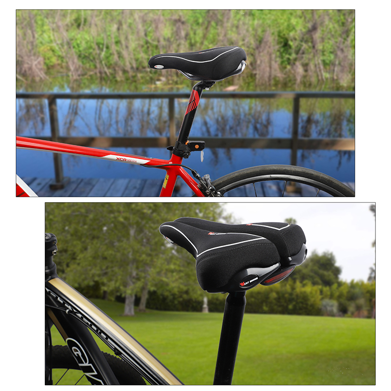 WEST BIKING Comfortable Bicycle Saddle with Taillight Cycling Saddle Cushion Shockproof Hollow Half Design Road MTB Bike Saddle in Bicycle Saddle from Sports Entertainment