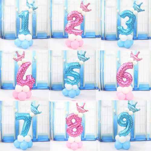 32'' Number Foil Balloon Giant Digit Helium 1st Birthday Party Baby Shower Decor Pudcoco Inflatable Toys