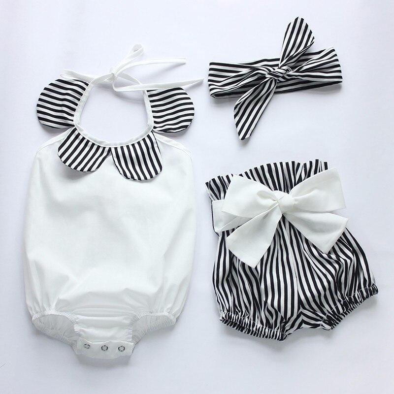 0-24 M Newborns Girls Clothing Cute Infant Toddler Bebes Kids Clothes Set Flower Baby Bodys Lishen Short Headband 3 pcs.